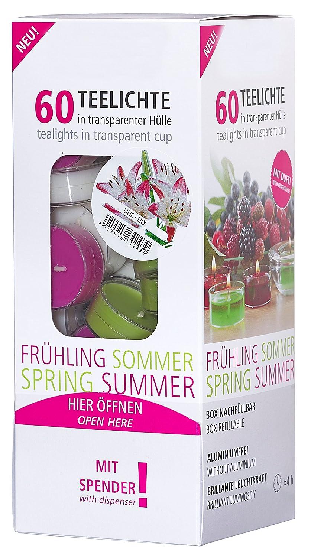 Smart Planet® Candele ambiente–Anni 'Set Luci tè profumato candela fiore di giglio in trasparente della copertura della cassa–Portacandela in box con dispenser