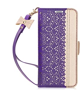 WWW iPhone 5S Case, iPhone 5 Case,iPhone SE 2016 Case, [Luxurious Romantic Carved Flower] Leather Wallet Case with [Makeup Mirror] and [Kickstand Feature] for Apple iPhone SE / 5S / 5 2016 Purple