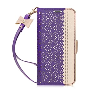 Homelove WWW iPhone XR Wallet Case, [Luxurious Romantic Carved Flower] Leather Wallet Case with [Inside Makeup Mirror] and [Kickstand Feature] for Apple iPhone XR Case (2018) Purple