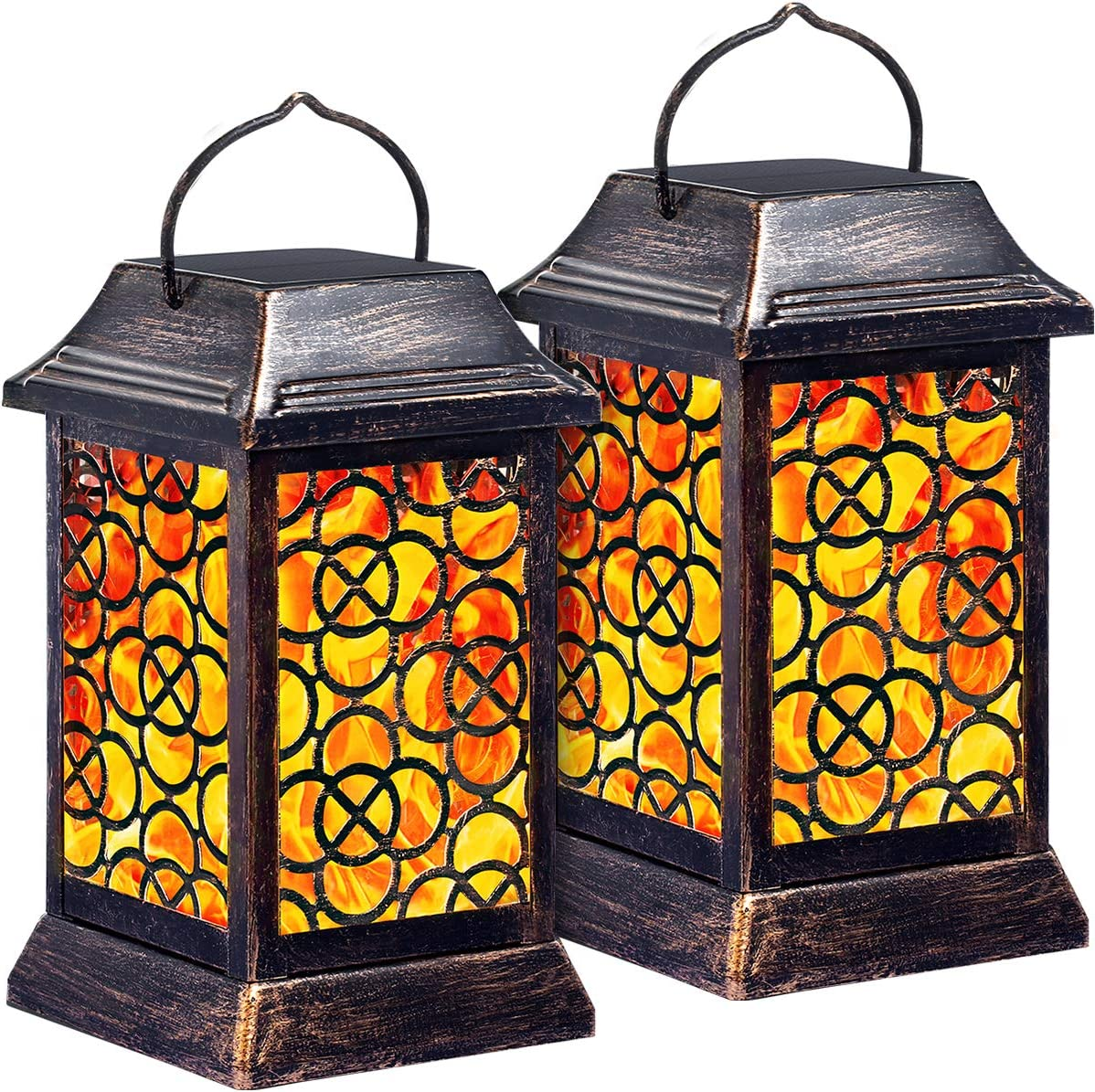 {2 Pack} Outdoor Solar Hanging Lantern Lights Metal LED Decorative Light