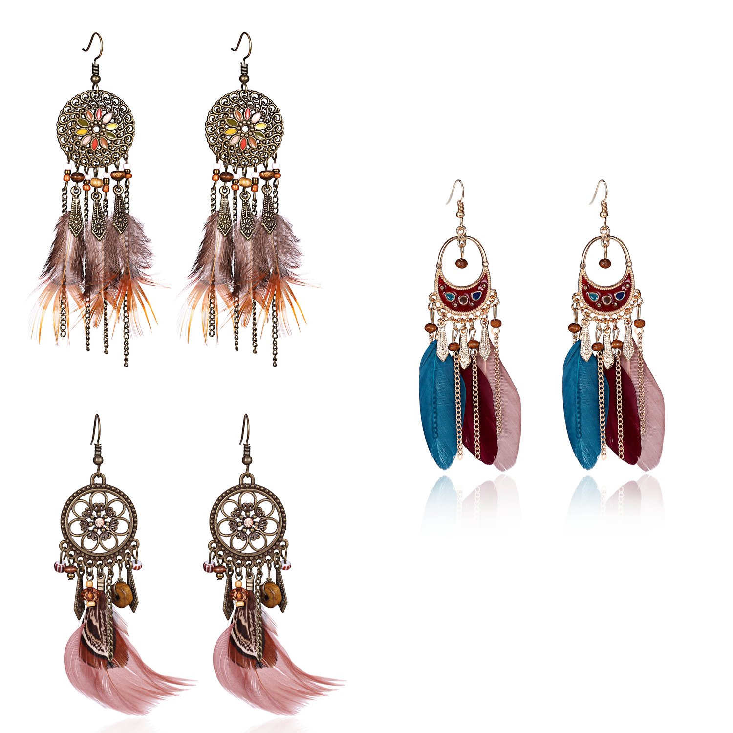Bohemian Long Tassel Feather Earrings - Punk Vintage Real Feather Handmade Dangle Earrings Jewelry for Gift (Style 4)