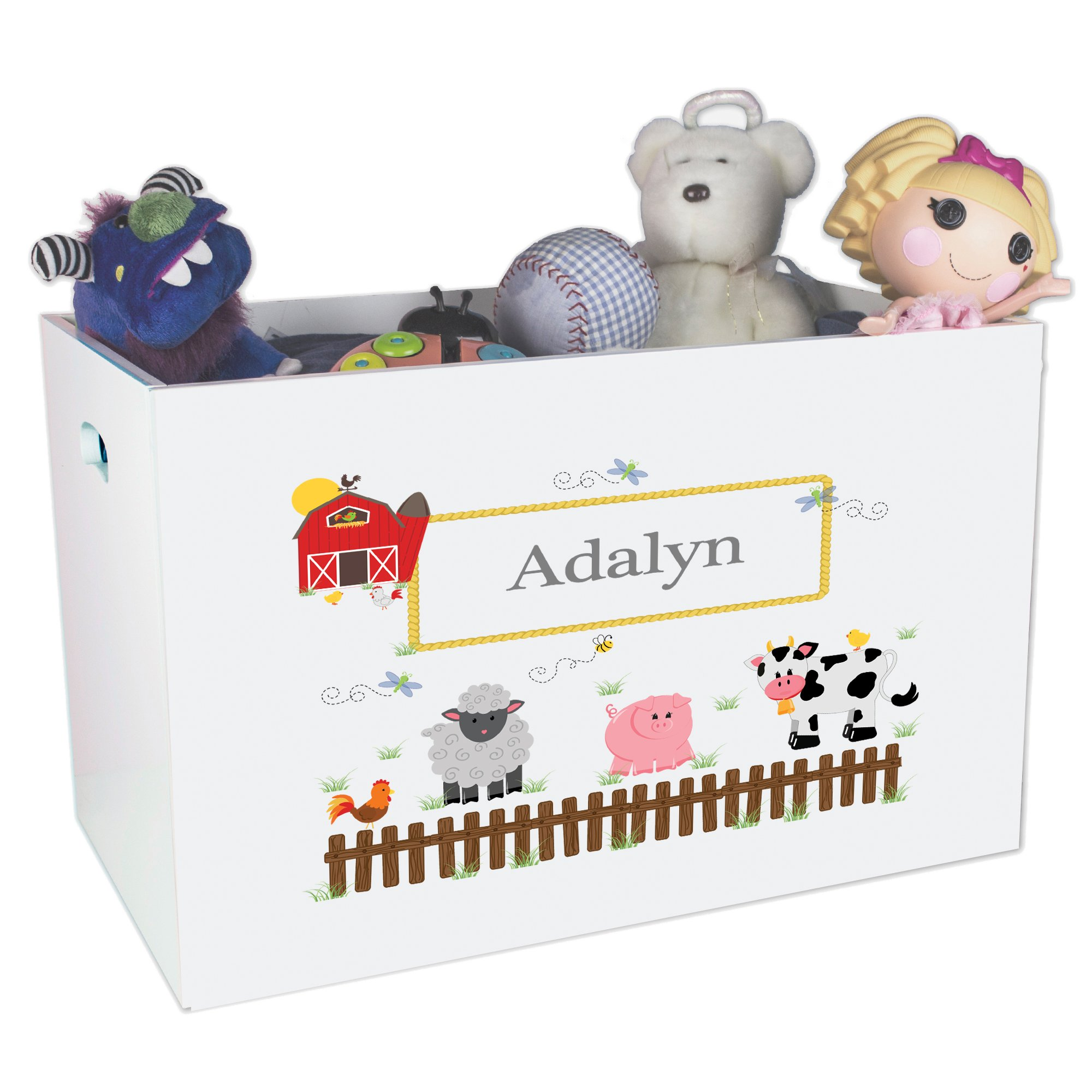Personalized Friends Pastel Childrens Nursery White Open Toy Box