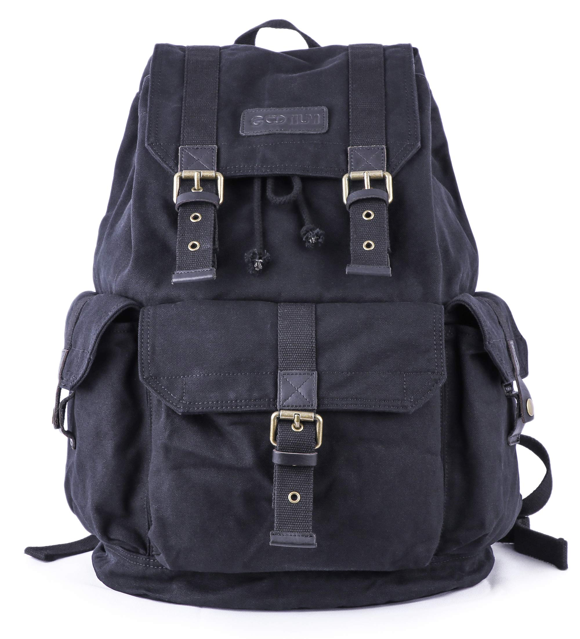 Gootium 21101BLK Specially High Density Thick Canvas Backpack Rucksack,Black