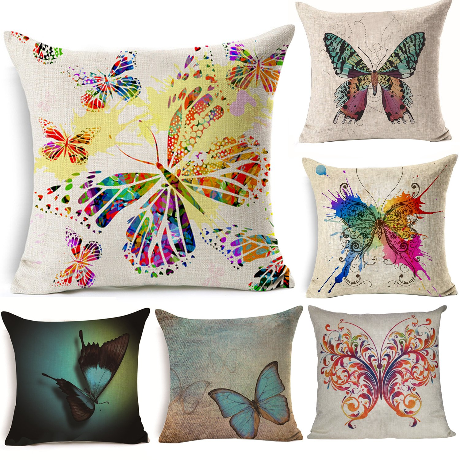 Colorful Butterfly Throw Pillow Case Cotton Linen Cushion Cover Home Decorative Pillow Cover 18 X 18 Inch 45 X 45cm 6 Pack Cover Only No Insert