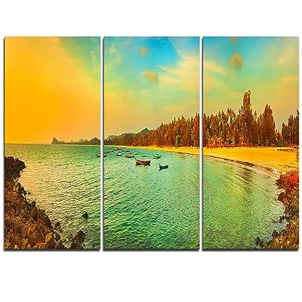 Amazon.com: Design Art MT11695-3P Blue Tinged Indian ocean Panorama ...