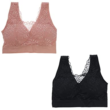bdfb78f78b2 Delta Burke Intimates Women s Queen Size Lacey Seamless Comfort Bralette  Set (1X
