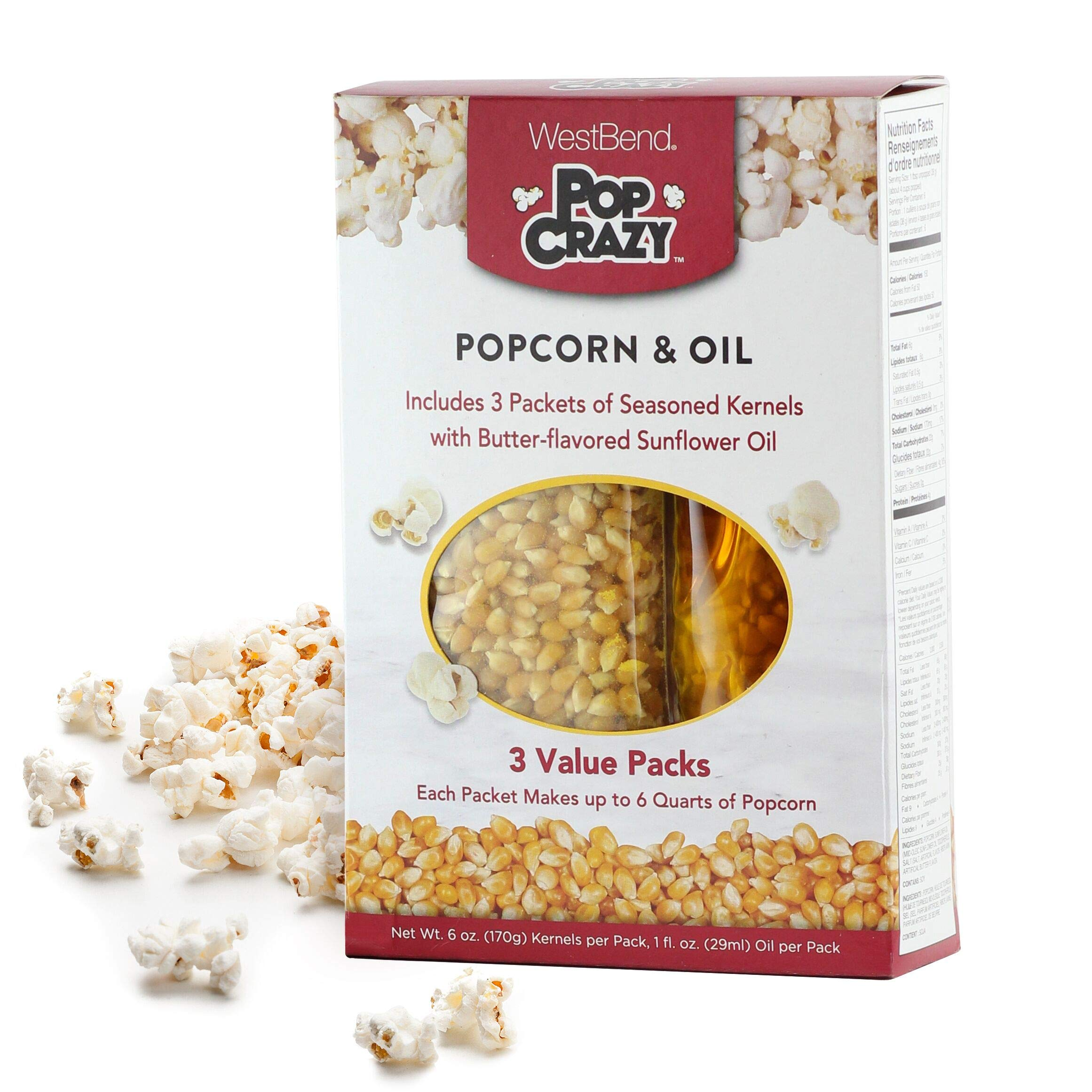 West Bend PC10518 Pop Crazy Popcorn and Sunflower Oil Makes Up to 6-Quarts of Popcorn, 3-Pack, White by West Bend
