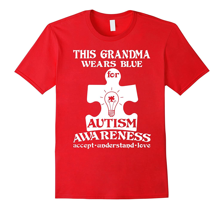 Grandma wears blue autism awareness autistic love mom shirt-TH