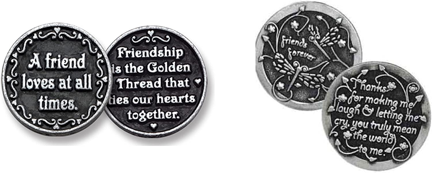Set Of Two 2 Special Friend 1 Pewter Pocket Tokens 2 Different Friendship 1 Metal Coin Friends Forever Inspirational Gifts Keepsake