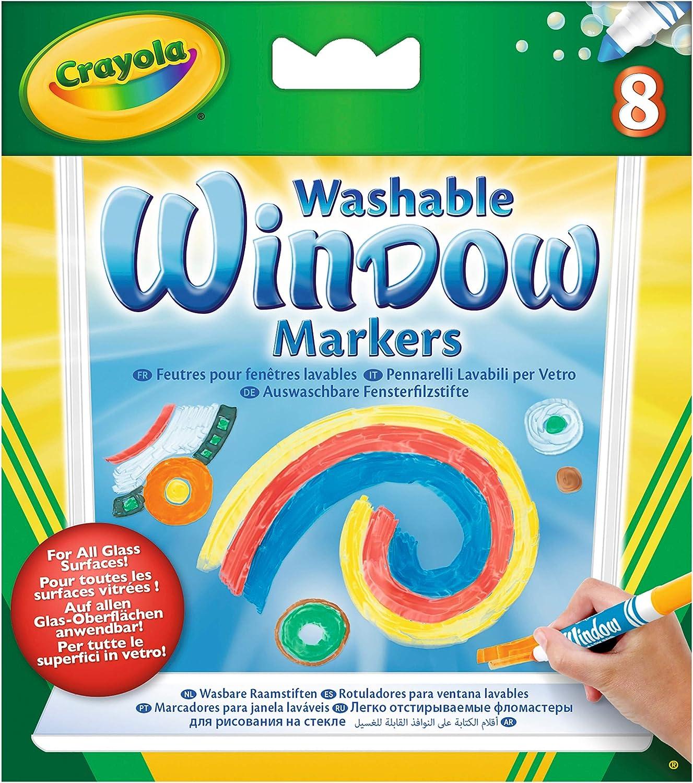 8 auswaschbare Fensterfilzstifte kombinierbar mit Marker Airbrush Crayola 58-8165