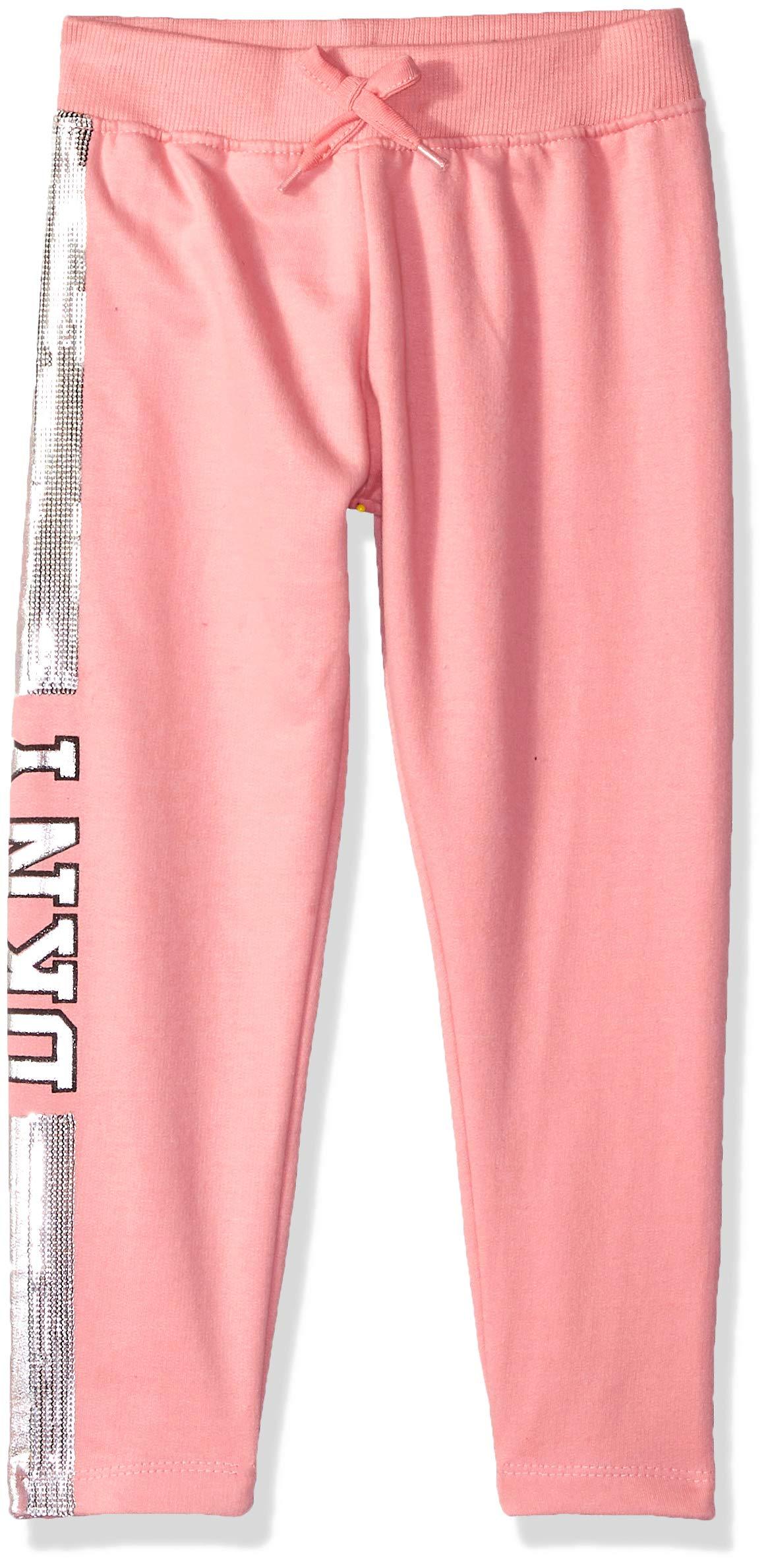 DKNY Girls' Big Glitter Jogger, Blush, 7