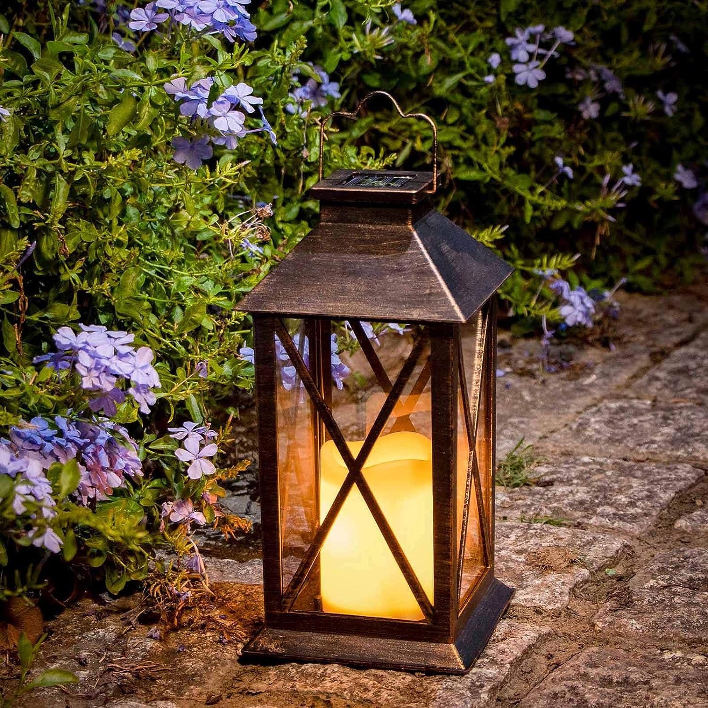 EKQ Square Solar Lantern Outdoor Garden Hanging Lantern Waterproof Garden Decor for Outdoor Pathway Party Decorative