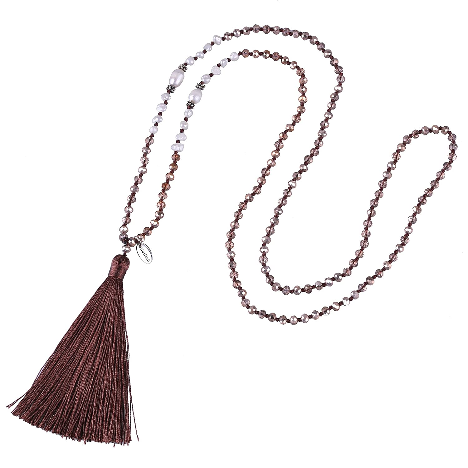 KELITCH Long Tassel Necklace Handmade Shell Pearl Crystal Beads Necklace for Women Fashion Jewelry Deep Brown Kelitch Jewelry UAMN0240E