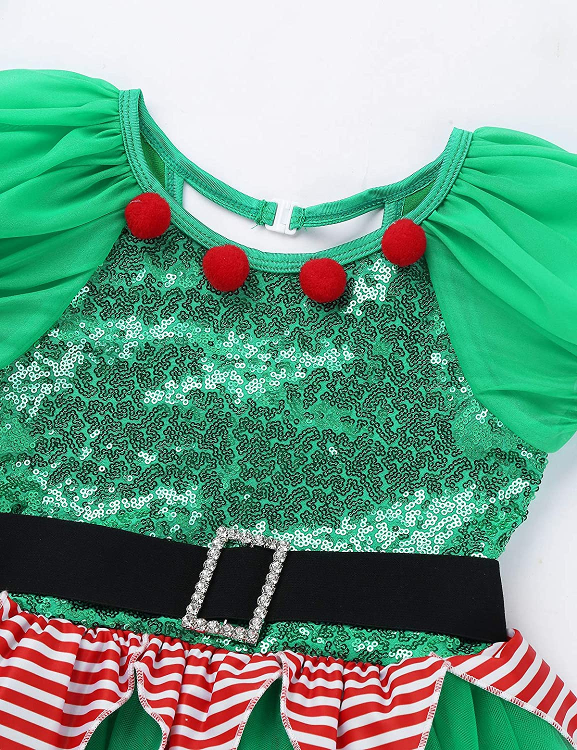 YiZYiF Children Girls Christmas Elf Costume Holiday Party Sequin Cosplay Dress Festive Suits