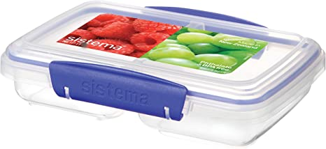 Amazon Com Sistema Klip It Rectangular Collection Split Food Storage Container Small 11 8 Oz 0 3 L Clear Blue Food Savers Kitchen Dining
