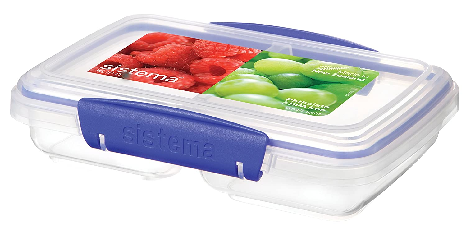 Sistema KLIP IT Rectangular Collection Split Food Storage Container, Small, 11.8 oz./0.3 L, Clear/Blue