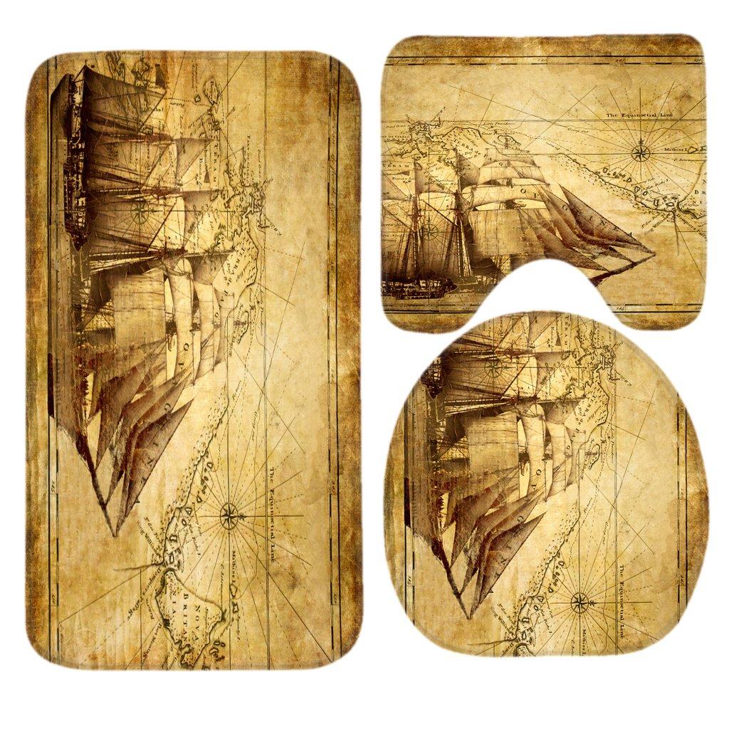 SSOIU 3 Piece Bath Mat Set Old Map Nautical Vintage Sailing Pirate Ship Non-Slip Bathroom Mats Contour Toilet Cover Rug