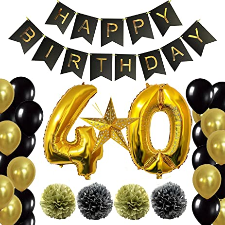 WeSurprise 40th Birthday Decorations Party Supplies Happy Banner Giant 40 Number
