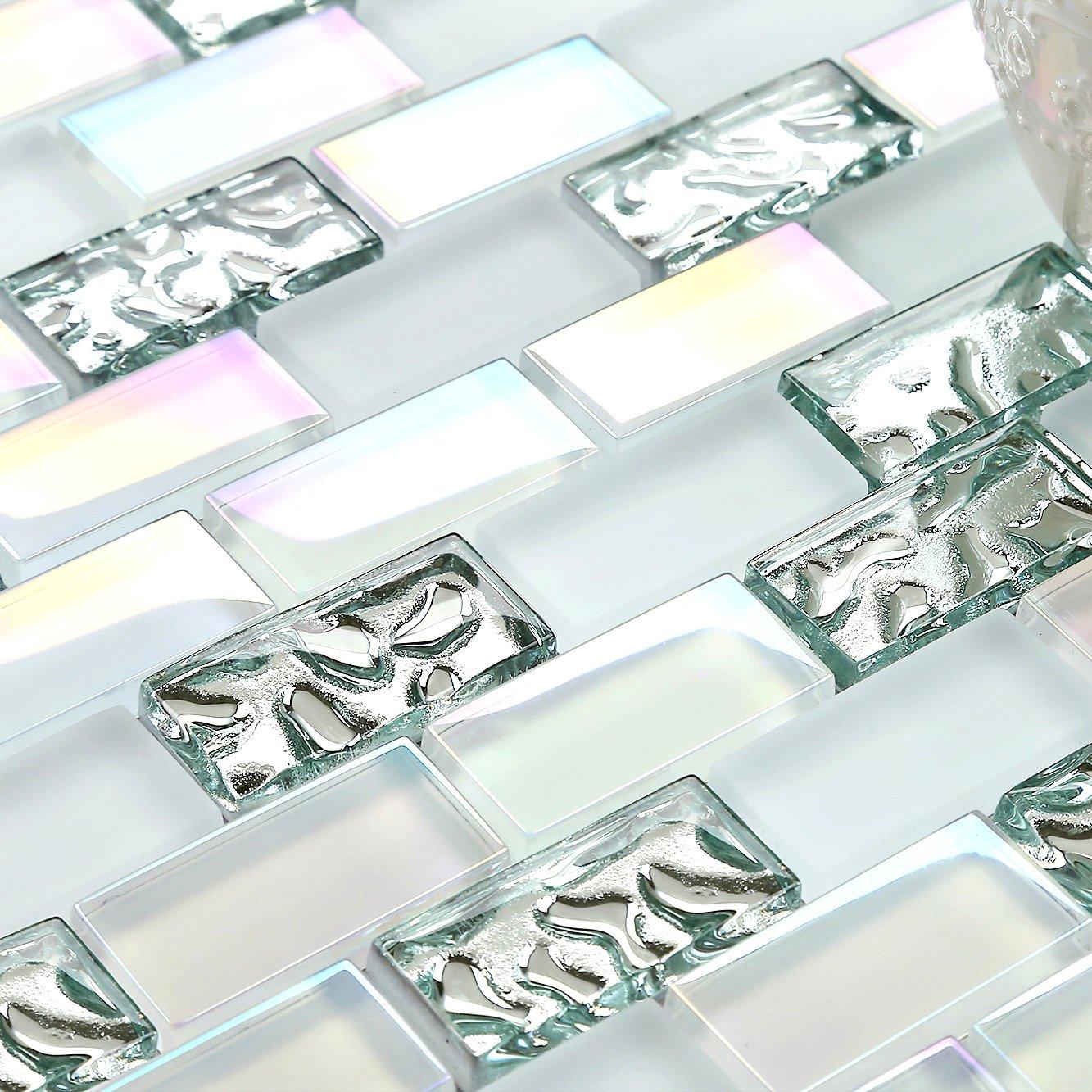 4'' x 6'' Sample Super White Subway Glass Mosaic Tile Iridescent Finish Art Mosaics for Kitchen Bath Backsplash TSTNB04