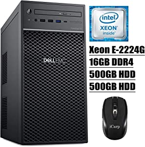 2020 Newest Dell PowerEdge T40 Tower Server Premium Desktop Tower Intel 4-Core Xeon E-2224G 16GB DDR4 500GB HDD 500GB HDD DVD USB-C Intel UHD Graphics P630 No Operating System + iCarp Wireless Mouse