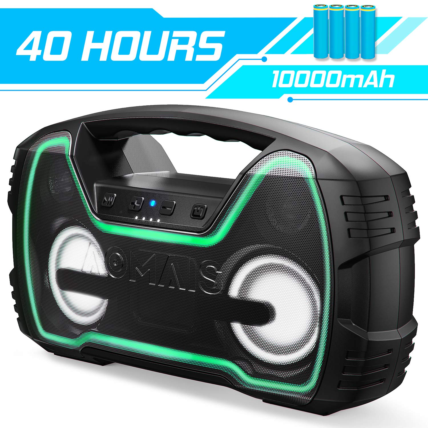 Bluetooth Speakers, AOMAIS 40-Hour Playtime Portable Outdoor Wireless Speaker with 10000mAh Battery, 25W Loud Volume & Deeper Bass / IPX7 Waterproof/LED Lights for Party, Pool, Beach [2019 Newest] by AOMAIS