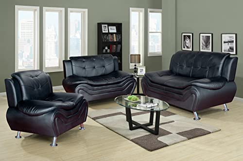 Beverly Fine Furniture 3 Piece Aldo Modern Sofa Set, BLACK