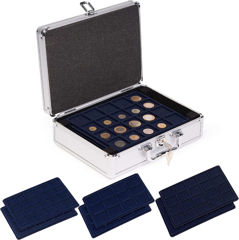 cuscinetto regolabile e scatola in legno display commemorativo per 18//21//25//27//30 mm contenitore per capsule di monete Porta capsule per monete Salateily raccoglitore di monete