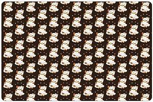 Ambesonne Japanese Cat Pet Mat for Food and Water, Calm Mellow Maneki Neko Cat Luck, Non-Slip Rubber Mat for Dogs and Cats, 18