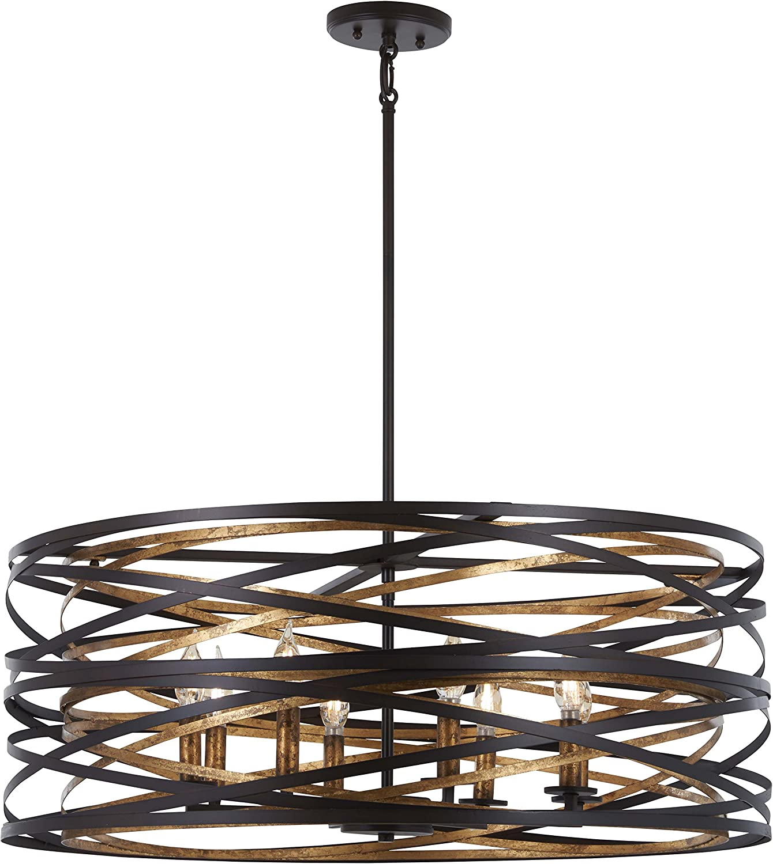 Minka Lavery Pendant Ceiling Lighting 4677-111 Vortic Flow, 8-Light 480 Watts, Dark Bronze