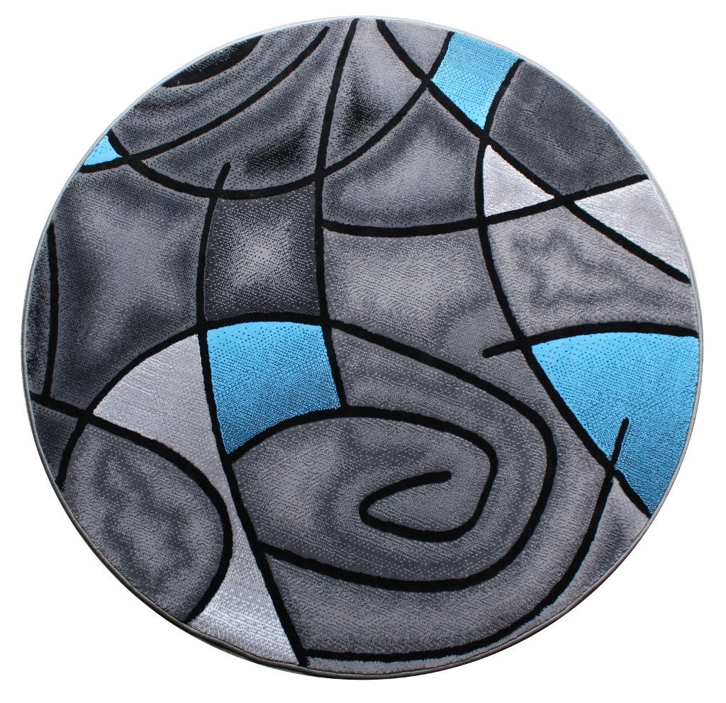 Masada Rugs Modern Contemporary Round Area Rug Blue Grey Black 5