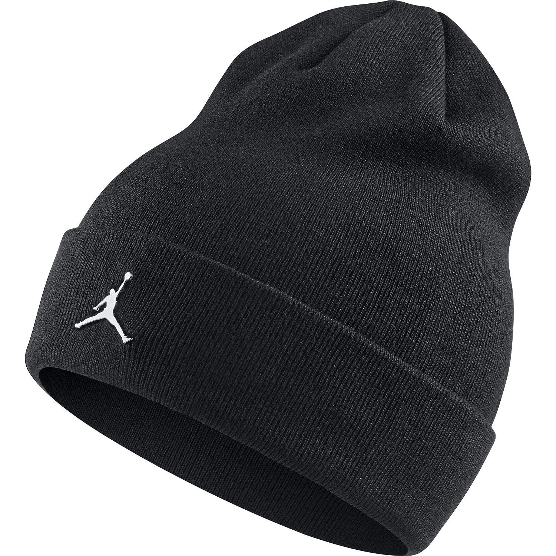 Amazon.com  Nike Mens Jordan Cuffed Metal Logo Beanie Black AA1297-010   Clothing dd6b6a0db2e