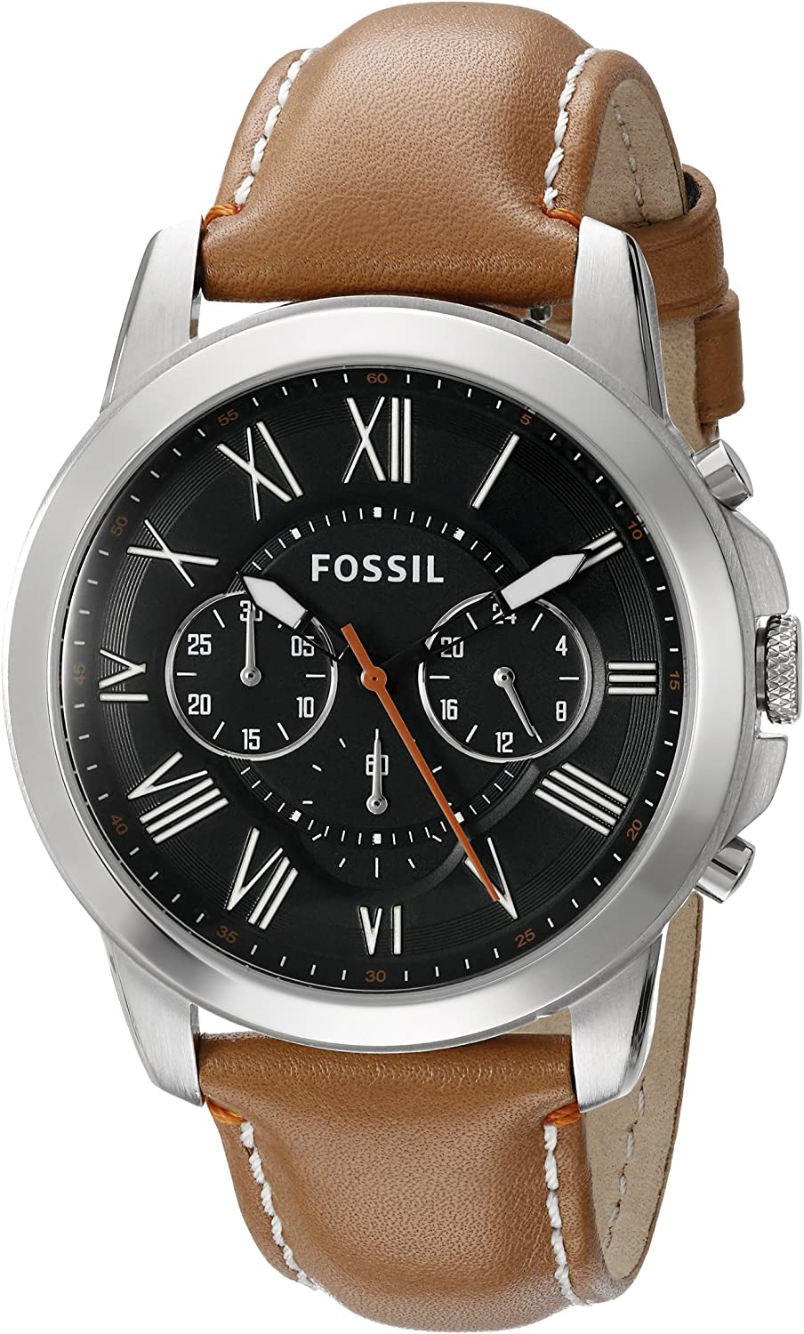 Fossil Men s FS4918 Grant Chronograph Stainless Steel Watch with Tan Leather Band