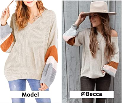 Women's Oversized V Neck Sweater Off Shoulder Pullover Knit Tops Striped Colorblock Sleeve Casual Loose fit Jumpers