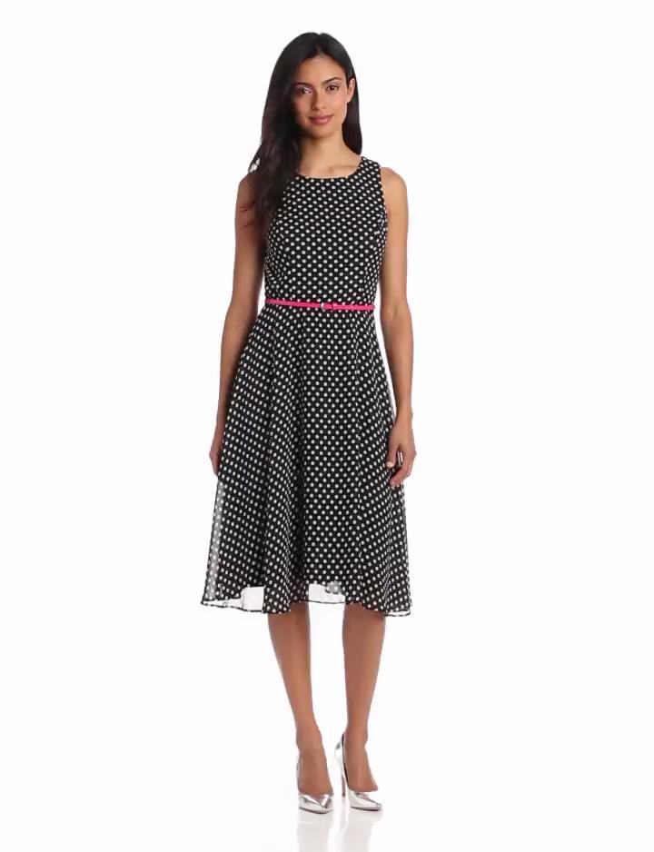 Jessica Howard Womens Sleeveless Belted Asymettical Hem Dress, Black, 14