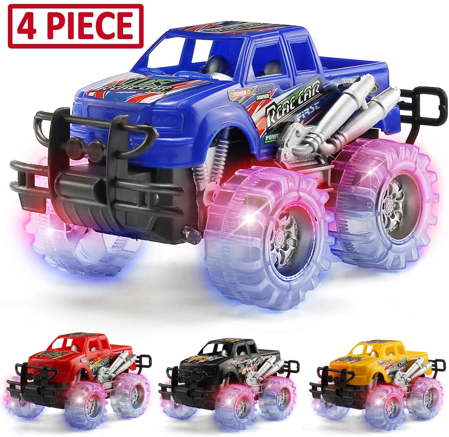 Amazon Com Mapixo 4 Pack 4 Colors Light Up Monster Truck Set With Flashing Led Wheels Best Gift For Boy And Girl Age 3 Years Old Push N Go Car Monster Car Toy