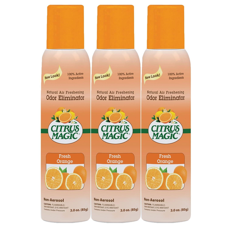 Citrus Magic 3-Pack Natural Odor Eliminating Air Freshener Spray, Fresh Orange, 3-Ounce
