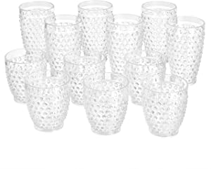 AmazonBasics 12-Piece Tritan Glass Drinkware Set - Hobnail Highball and Double Old Fashioned, 6-Pieces Each, 18oz./13oz.