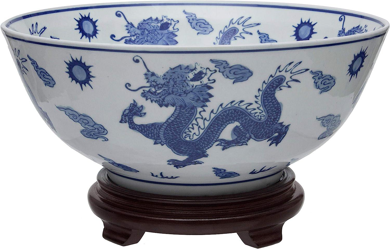"ORIENTAL Furniture 14"" Dragon Blue & White Porcelain Bowl"