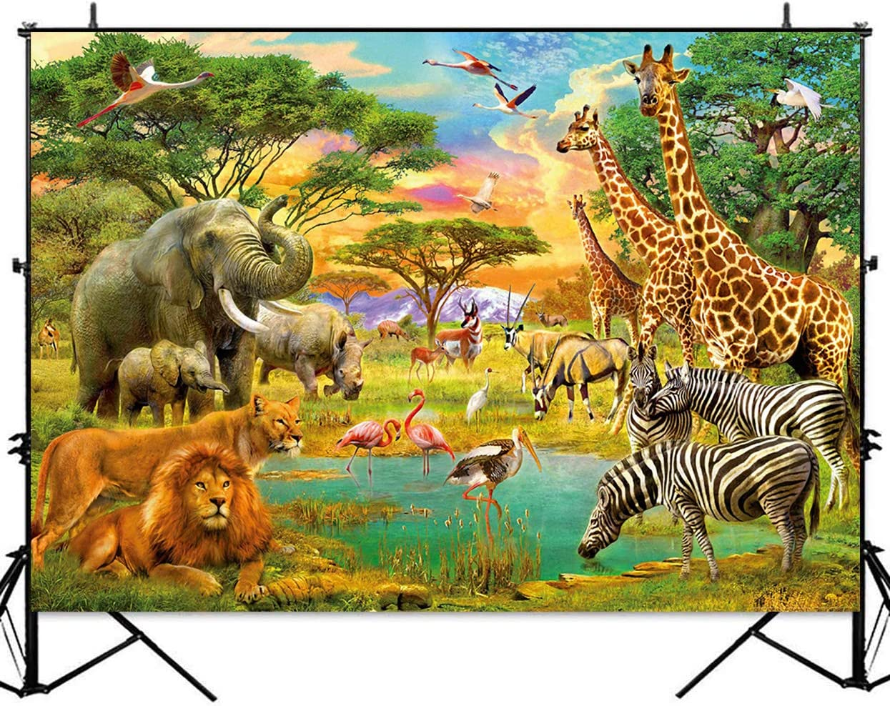 Vines Animals Lion Zoo Cake Smash Safari Jungle Animal Birthday Photography Backdrop Wild Birthday Fern Leaves Cheetah Print Party