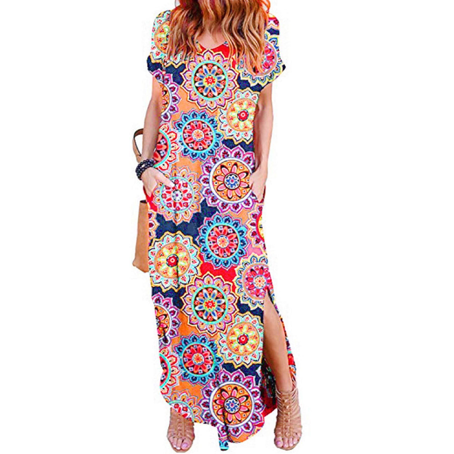 Women's Beach Dress Casual Loose Pocket Long Dress Short Sleeve Split Maxi Dresses (XL, Red)