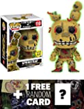 Springtrap - Glow-in-Dark (GameStop Exclusive): Funko POP! x Five Nights at Freddy's Vinyl Figure + 1 Official FNAF Trading Card Bundle (127080)