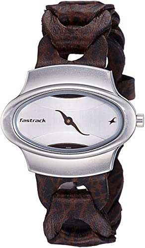 5. Fastrack Analog Silver Dial Leather Band Watch