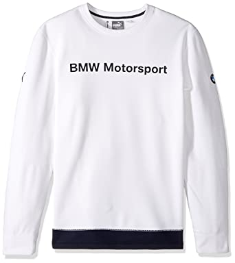 PUMA Mens BMW Motorsport Crew Neck Sweat, White, Medium