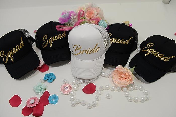 Amazon.com  Bride - Squad - Snapback - Trucker Hat - Bachelorette Party Hat  - Honeymoon Hat - Bride Hat - White Hat - Beach Hat  Handmade cc12f3ab505e