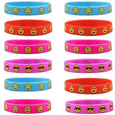 12pcs Bracelet Silicone,Emotion visages Bracelets,Emoji bracelets de motivation,Pour les cadeaux d'enfants, remplisseurs de sac de partie d'enfants,4 Couleurs