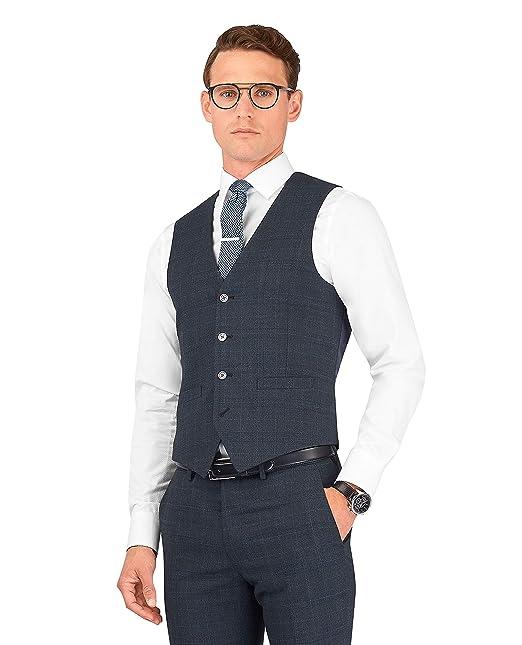 69c4810511e T.M.Lewin Ovett Skinny Fit Power Stretch Waistcoat in Navy Check Merino  Wool Blend: Amazon.co.uk: Clothing