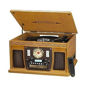 Victrola Nostalgic Aviator Wood 8-in-1 Bluetooth Turntable Entertainment Center, Oak