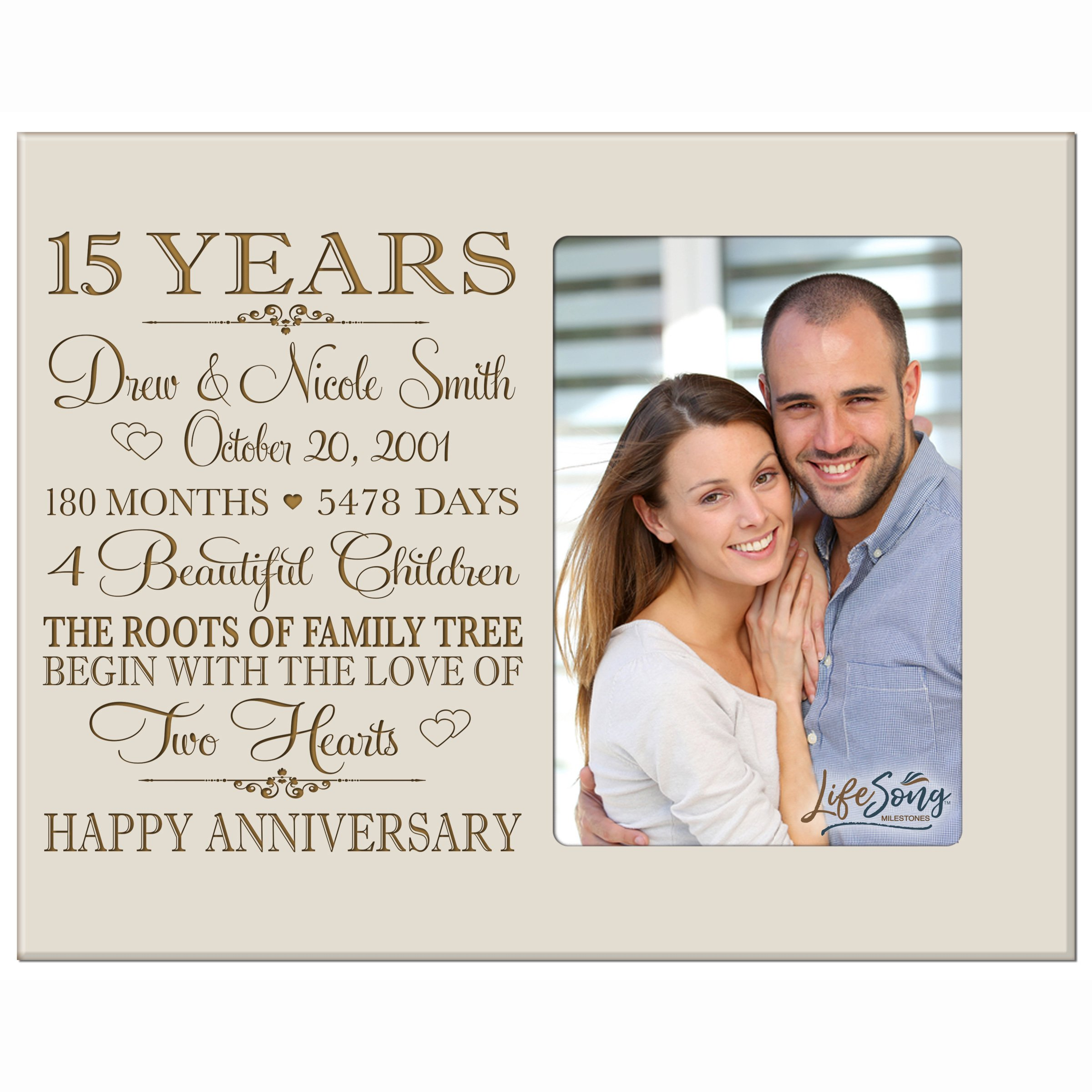 Personalized Fifteen year anniversary gift for her him couple Custom Engraved wedding gift for husband wife girlfriend boyfriend photo frame holds 4x6 photo by LifeSong Milestones (ivory)