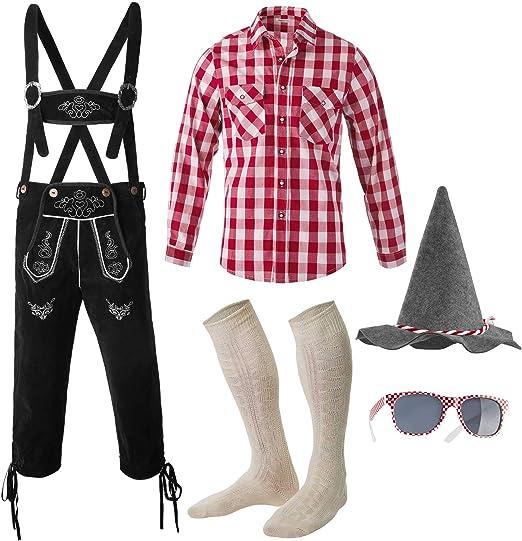 dressforfun 950002 Conjunto Bávaro Cinco Piezas para Hombre, Pantalón Negro & Camisa, Calcetines, Gafas de Sol & Sombrero (Pantalón M | Camisa L | No. 350030): Amazon.es: Productos para mascotas