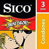 Condones Texturizados, Sico Play Dame Calor, Color Natural, Cartera con 3 Piezas